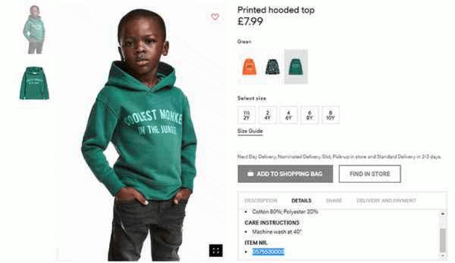 H&M photo jeune noir avec hoodie Coolest Monkey in the jungle