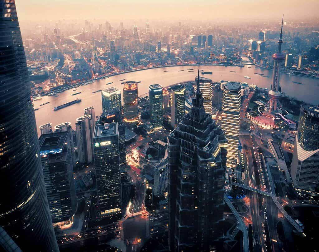 Perspective aérienne de la ville de Shanghai, quartier général de la New Development Bank pour les nouveaux marchés.
